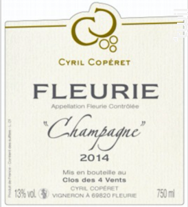 Fleurie - Champagne - Cyril Copéret - 2016 - Rouge
