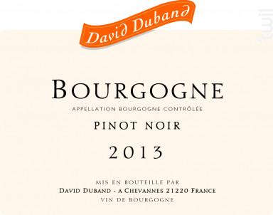 Bourgogne Pinot Noir - Domaine David Duband - 2016 - Rouge