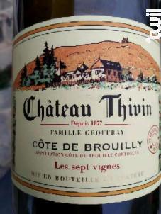 Les Sept Vignes - Château Thivin - 2018 - Rouge
