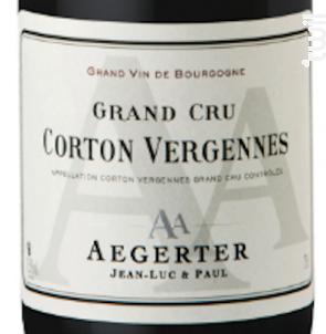 Corton Vergennes - Jean Luc et Paul Aegerter - 2014 - Rouge