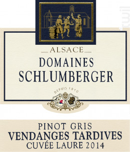 Pinot Gris Vendange Tardive Cuvée Laure - Domaines Schlumberger - 2014 - Blanc