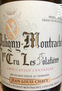 PULIGNY MONTRACHET 1er cru Folatieres - Jean Louis Chavy - 2016 - Blanc