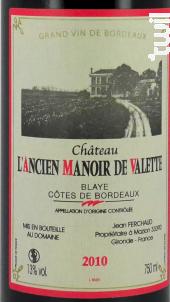 Manoir de Valette - Manoir de Valette - 1996 - Rouge