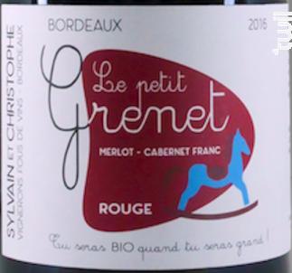 LE PETIT GRENET ROUGE - Sylvain & Christophe, vignerons fous de vins - 2016 - Rouge