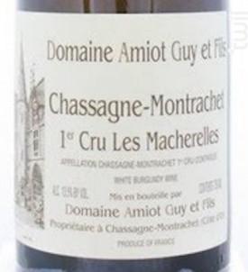 Chassagne-Montrachet 1er Cru les Macherelles - Domaine Amiot Guy et Fils - 2015 - Blanc