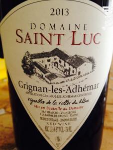 Tradition - Domaine Saint Luc - 2018 - Rouge