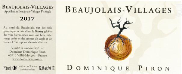 Beaujolais Villages - Dominique Piron - 2017 - Rouge