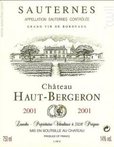 Château Haut Bergeron - Château Haut Bergeron - Famille Lamothe - 2007 - Blanc