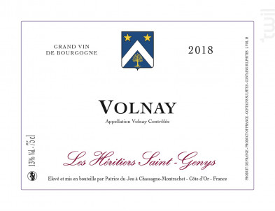Volnay - Les Héritiers Saint-Genys - 2018 - Rouge
