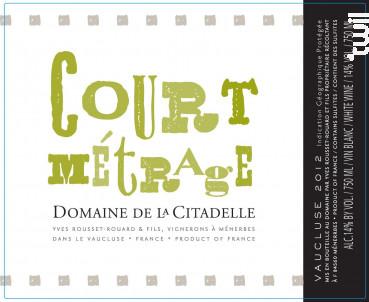 Court Metrage - Domaine de la Citadelle - 2019 - Blanc