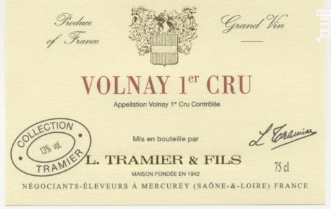 Volnay 1erCru - Maison L. Tramier et Fils - 2011 - Rouge