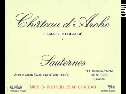 Château d'Arche - Château d'Arche- Sauternes - 1997 - Blanc