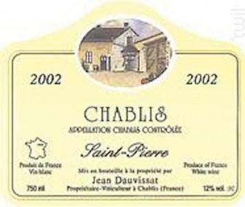 Chablis Saint Pierre - Domaine Jean Dauvissat - 2015 - Blanc