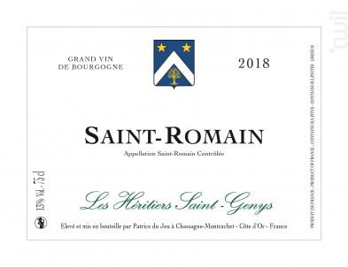 Saint Romain - Les Héritiers Saint-Genys - 2018 - Blanc