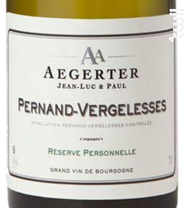 Pernand-Vergelesses Réserve Personnelle - Jean Luc et Paul Aegerter - 2011 - Blanc