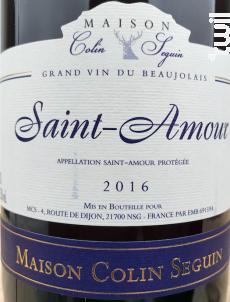Saint Amour - Tradition - Maison Colin Seguin - 2016 - Rouge