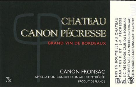 Château CANON PECRESSE - Château Canon Pécresse - 2013 - Rouge