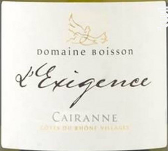 L'Exigence - Domaine Boisson - 2018 - Blanc