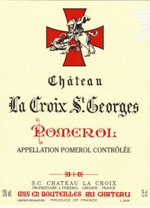 Château La Croix Saint-Georges - Château La Croix Saint-Georges - 2018 - Rouge