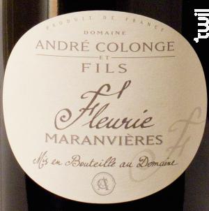Maranvières - Domaine André Colonge et Fils - 2013 - Rouge