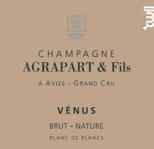 Vénus Brut Nature Blanc de Blancs Grand Cru Millésimé - Champagne Agrapart et Fils - Non millésimé - Effervescent
