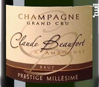Brut Prestige Millésimé Grand Cru - Champagne Claude Beaufort - 2013 - Effervescent