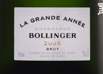 La Grande Année Brut Millésimé - Champagne Bollinger - 2005 - Effervescent