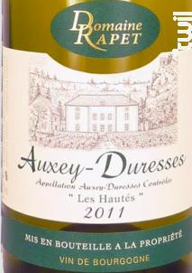 Auxey-Duresses Les Hautés - Domaine Rapet François & Fils - 2017 - Blanc