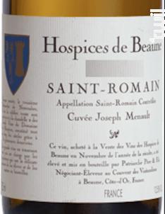 Saint Romain Cuvée Joseph Menault - Hospices de Beaune - 2018 - Blanc