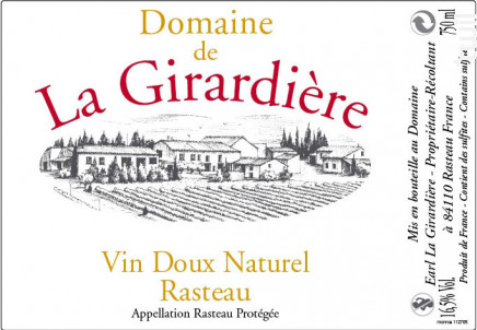 Vin Doux naturel Rasteau - Domaine de la Girardière - 2016 - Rosé