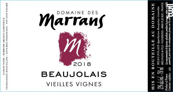Beaujolais Vieilles Vignes - Domaine des Marrans - 2018 - Rouge