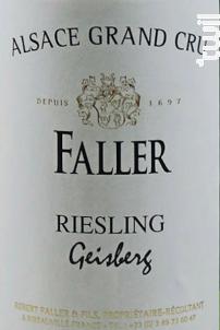 Riesling Geisberg Grand Cru - Robert Faller et Fils - 2013 - Blanc