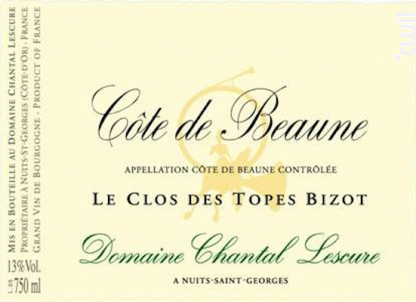 Côtes De Beaune Clos Des Topes Bizot - Domaine Chantal Lescure - 1998 - Rouge