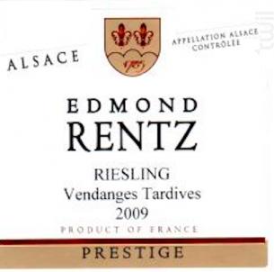 Riesling Vendanges Tardives - Domaine Edmond Rentz - 2017 - Blanc