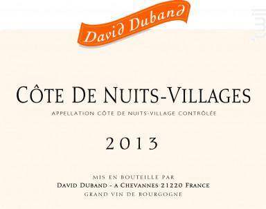 Côte de Nuits-Villages - Domaine David Duband - 2016 - Rouge