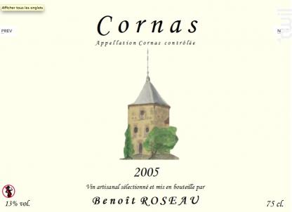 Cornas - Domaine Benoît ROSEAU - Clos du pigeonnier - 2015 - Rouge
