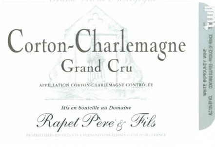 Corton Charlemagne Grand Cru - Domaine Rapet Père & Fils - 2017 - Blanc