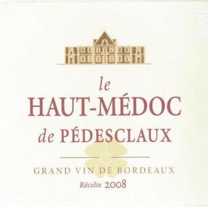 Le Haut-Médoc de Pédesclaux - Château Pédesclaux - 2015 - Rouge