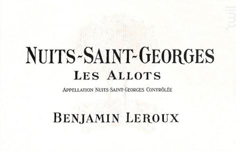 Nuits-Saint-Georges Les Allots - Benjamin Leroux - 2012 - Rouge