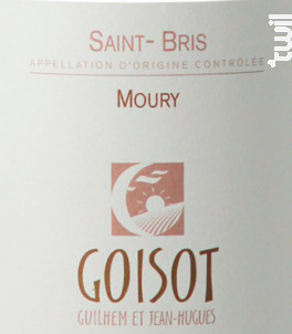 Saint-Bris Moury - Domaine Goisot Jean-Hugues et Guilhem - 2017 - Blanc