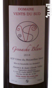 Grenache Blanc - Domaine Vents du Sud - 2018 - Blanc
