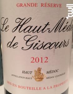 Le Haut-Médoc de Giscours - Château Giscours - 2012 - Rouge