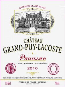 Château Grand-Puy-Lacoste - Château Grand-Puy-Lacoste - 2010 - Rouge