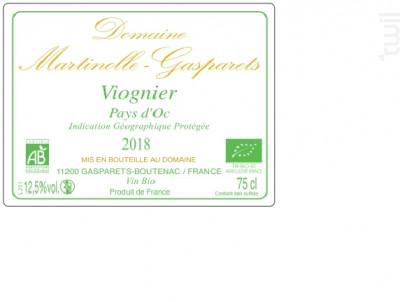 IGP 100% Viognier BIO - Domaine Martinolle-Gasparets - 2018 - Blanc