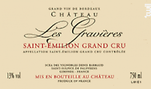 Château Les Gravières - Saint-Emilion Grand Cru - Vignobles Denis Barraud - Château Les Gravières - 2015 - Rouge