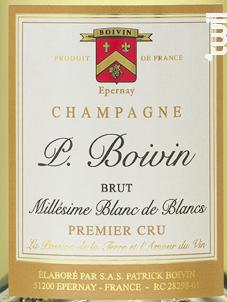 Millésime Blanc de Blancs 2008 - Extra Brut - Champagne Patrick Boivin - 2008 - Effervescent
