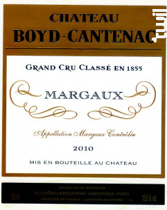 Château Boyd Cantenac - Château Boyd Cantenac & Château Pouget - 2010 - Rouge