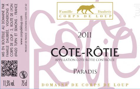 Paradis - Domaine de Corps de Loup - 2016 - Rouge