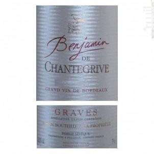 Benjamin de Chantegrive - Château de Chantegrive - 2015 - Rouge