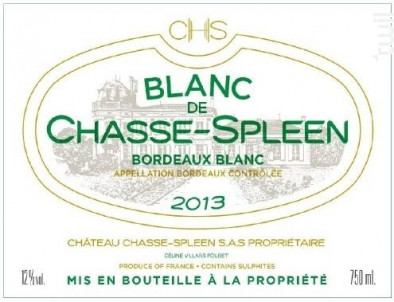 Blanc de Chasse-Spleen - Château Chasse-Spleen - 2013 - Blanc